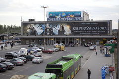 Gammal och stängd järnvägsstation i Poznan Royaltyfri Fotografi