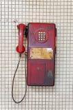 Gammal offentlig telefon i Bangkok, Thailand arkivfoto