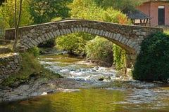 gammal over flod för bro arkivfoto