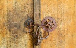 Gammal padlock på en trädörr royaltyfri fotografi