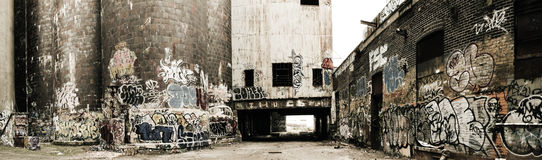 gammal panorama för fabrik Royaltyfri Fotografi