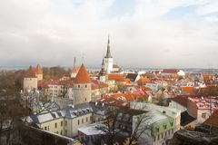 gammal panorama tallinn övre sikt tallinn estonia royaltyfri bild