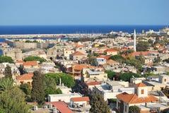 gammal panoramarhodes town Arkivfoto