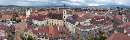 gammal panoramaromania sibiu town transylvania Royaltyfri Fotografi