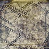 Gammal papperen och grungefilmstrip Arkivbilder