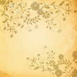 Gammal pappers- bakgrund med blom- modeller Royaltyfria Bilder
