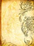 Gammal pappers- bakgrund med blom- modeller Fotografering för Bildbyråer