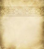 Gammal pappers- bakgrund med den blom- gränsen Arkivfoto