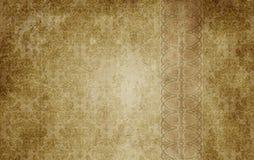 Gammal pappers- bakgrund med den dekorativa tappningprydnaden Royaltyfria Foton