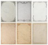 Gammal pappers- bakgrundstextur med tappningramgränsen Royaltyfri Bild