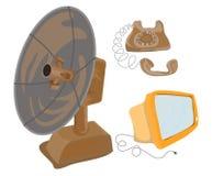 gammal parabolatelephontelevision Arkivfoto