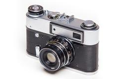 Gammal parallell kamera för klassiker 35mm på vit Royaltyfri Fotografi