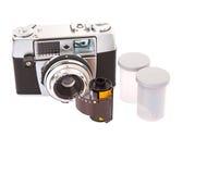 Gammal parallell kamera- och filmrulle II royaltyfri fotografi