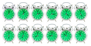 Gammal parallell klocka med 24 timmar Royaltyfria Bilder