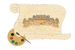 gammal parchmentvektor för slott royaltyfri illustrationer