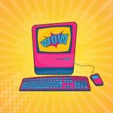 Gammal persondatorvektorillustration som är retro stock illustrationer