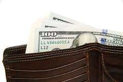 Gammal plånbok med sedlar av US dollar inom Fotografering för Bildbyråer