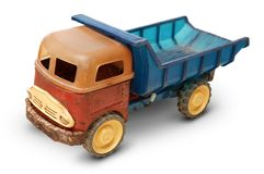 Gammal plast- leksak, generisk auto lastbil Arkivfoto