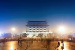 gammal plats för beijing natt Royaltyfri Fotografi