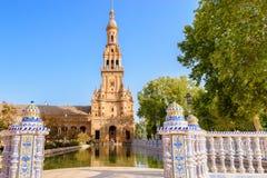 gammal plaza sevilla spain stad de espana för berömd landmark Arkivfoto