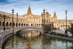 gammal plaza sevilla spain stad de espana för berömd landmark arkivbild