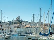 Gammal port av Marseille med yachter Royaltyfri Fotografi