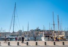 Gammal port av Marseille med yachter Royaltyfria Foton