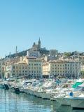 Gammal port av Marseille med yachter Royaltyfri Foto