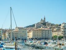 Gammal port av Marseille med yachter Arkivbild