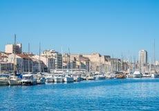 Gammal port av Marseille med yachter Arkivfoto