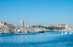 Gammal port av Marseille med yachter Arkivfoton