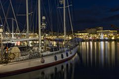 Gammal port Genoa Night Royaltyfria Foton