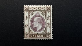 Gammal portostämpel av Hong Kong 1c fotografering för bildbyråer