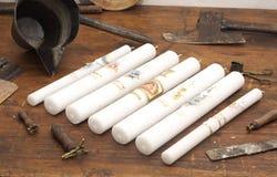 gammal produktion för stearinljus Arkivbilder