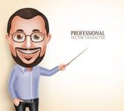 Gammal professorlärare Man Vector Character som talar peka tomt utrymme royaltyfri illustrationer