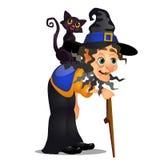 Gammal puckelryggig häxa med att gå pinnen och den svarta katten på hennes skuldra som isoleras på vit bakgrund Skissa för affisc royaltyfri illustrationer