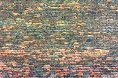 Gammal röd-apelsin tegelstenvägg, bakgrund, textur 32 Royaltyfria Foton
