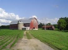 Gammal röd ladugård och silo - Bangor Wisconsin Royaltyfri Foto