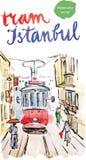 Gammal röd spårvagn för vattenfärg i Istanbul Stock Illustrationer