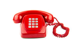 gammal röd telefon Arkivfoto