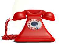 Gammal röd telefon Arkivbild