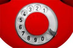 gammal röd telefon för visartavla Royaltyfri Fotografi