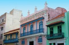 gammal rad för färgrika hus Arkivfoto