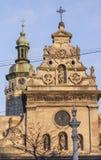Gammal religiös gemenskap i mitten av Lviv arkivfoton