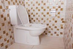 Gammal ren toalett med gamla tegelplattor Arkivbild