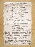 gammal resipe Arkivbild
