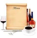 gammal restaurangscroll för meny Royaltyfri Bild