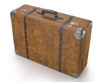 Gammal resväska över vit Arkivbilder