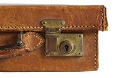 gammal resväska för läder Royaltyfri Fotografi