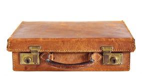 gammal resväska för läder royaltyfria bilder